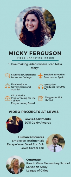 Micky Ferguson Video Intern at Lewis Infographic